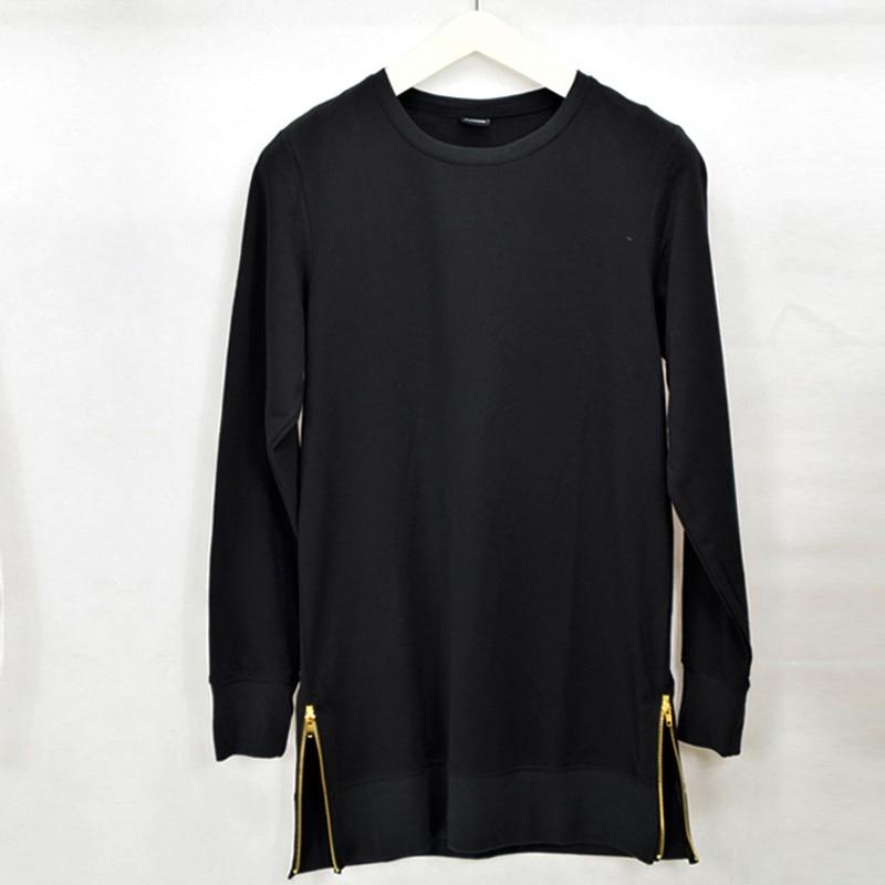 2017 Men's Black Color Long SLeeve T Shirt T-Shirt Zipper Shirt hip hop Streetwear Longline tshirts man Warm High street Tops 4