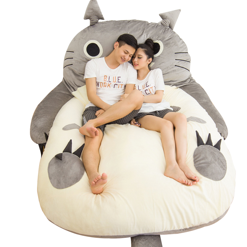 Dorimytrader Pop Anime Totoro Sleeping Bag Soft Plush Large Cartoon Bed Tatami Beanbag Mattress Kids and Adults Gift DY61004