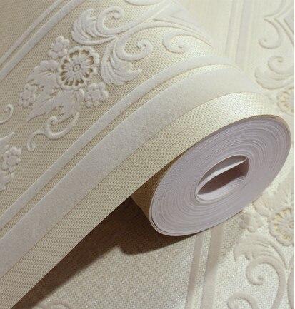 Cream velvet fashion damask vertical stripes flocked wallpaper sofa background velvet flock - Cream flock wallpaper ...