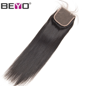 Image 5 - Beyo 4 x 4 Straight Human Hair Closure Free/Middle/Three Part Peruvian Hair Lace Closure With Baby Hair 10 24 Inch Non Remy Hair