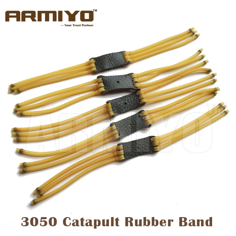 Armiyo 3050 Type 6 Strips Elastic Catapult Bow Slingshot Rubber Bands 5mm Outer 3mm Inner Hunting Shooting Paintball Accessories