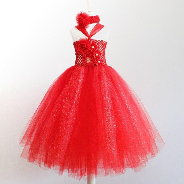 Rosso Principessa Sofia Abiti Per Ragazze Bambini Chiffon Di Natale