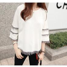2019 New Yfashion Women Casual All-match Loose Tassel Lace Half Sleeve Tops