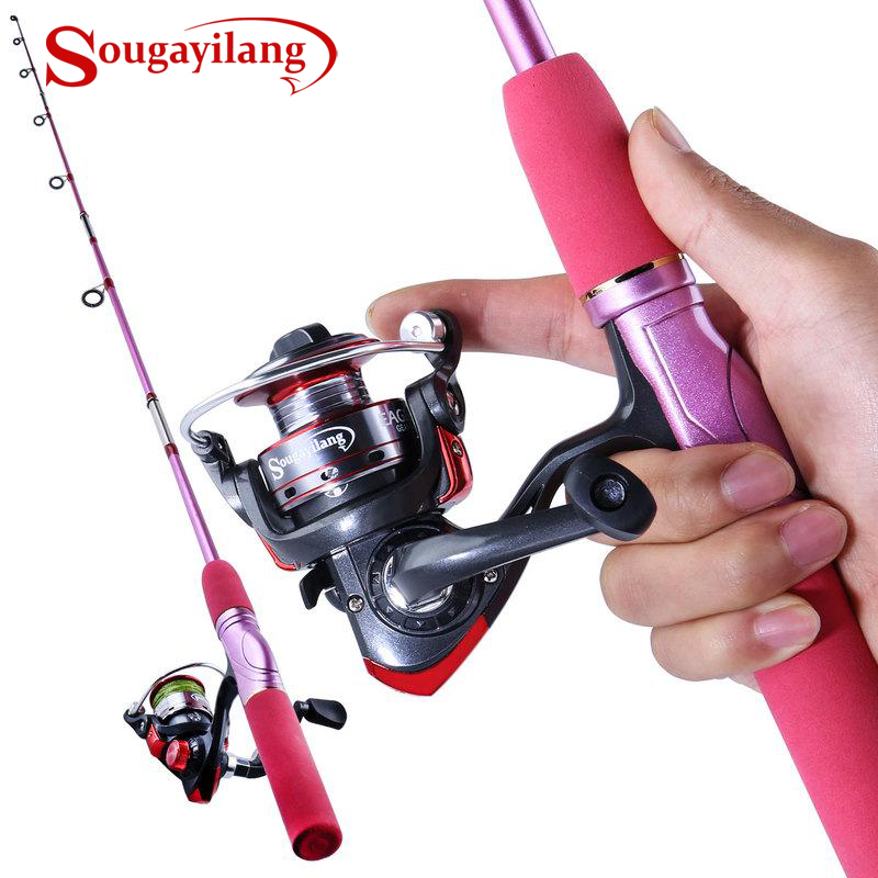 Sougayilang 1.5m Portable Fishing Rod with Spinning Reel Combo Pink Fishing Rod Pole Fishing Reel Kit for Women Children Fishing|Rod Combo| |  - title=