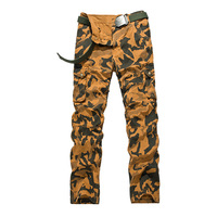 2017 Summer Outdoors Multi Pockets 100 Cotton Plus Size Camouflage Military Cargo Pants Long Camo Sports