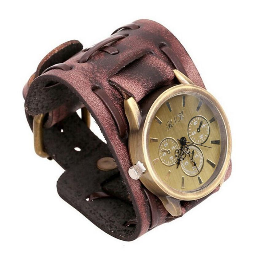 #5001 New Style Retro Punk Rock Brown Big Wide Leather Bracelet Cuff Men Watch Cool цена 2017