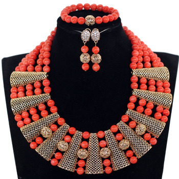 Gorgeous Real Coral Beads Wedding African Jewelry Set 10MM Original Coral Bead Bridal Chunky Necklace Set Free Shipping CNR367