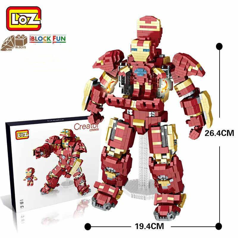 LOZ diamentowe klocki budynku Mecha żelaza Robot 2 w 1 Super hero cegły Super hero Action Figures zabawki dla dzieci DIY dziecko chłopiec 9045