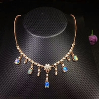 [MeiBaPJ]Real Natural Opal Gemstone Fashion Necklace with Certificate 925 Pure Silver Fine Jewelry for Women