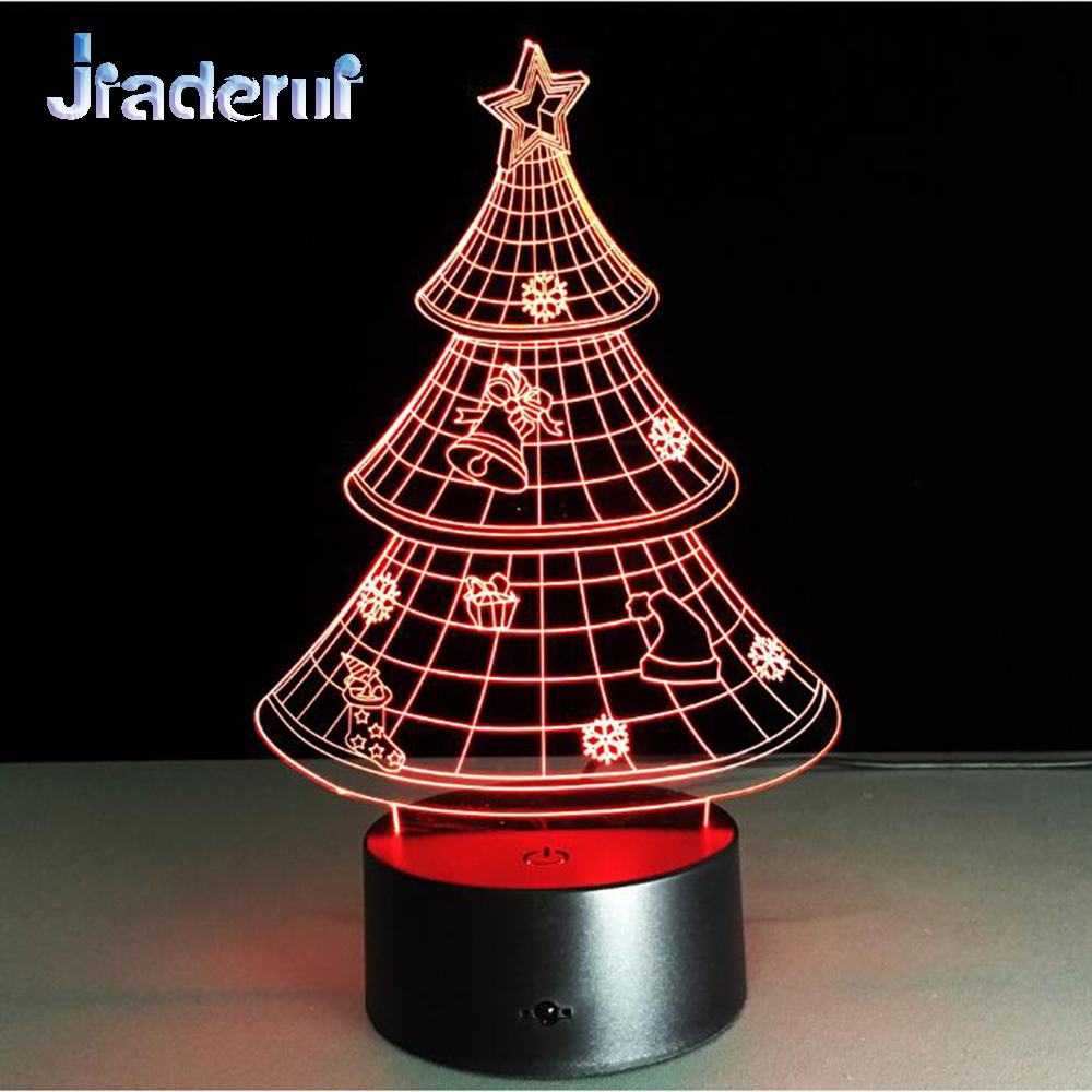 Jiaderui New Year Christmas Gifts 3D Christmas Tree Night Light Creative Colorful LED Decor Lamp Table Lamps for Home Decor Lamp