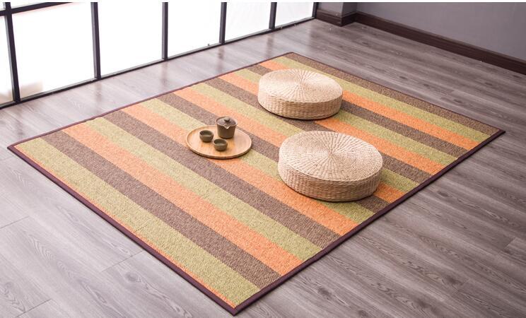 Tapis de sol japonais en bambou grand carré 180 cm tapis de matelas Portable Tatami tapis de mode Designer tapis de soie en bambou