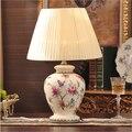 hand made chinese butterfly fabric ceramic led e27 table lamp for bed room hotel living room 110-220V desk light 1937