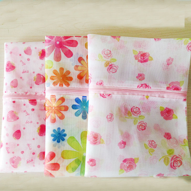 New Flower Clothes Zipper Washing Laundry Bag Mesh Bra Underwear Socks Shirts Free Shipping