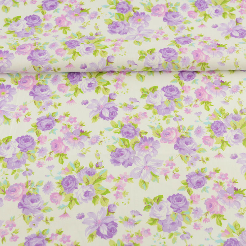 Patchwork Pink and Purple Rose Design Garment 100% Cotton Twill Fabric Hotel Bed Sheet for Children Baby Dolls Bedding Quilting