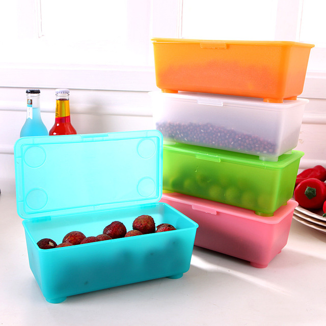 Candy Color Plastic Storage Box With Cover Creative Sundries Storage Bins  Food Crisper Multi Functional Container