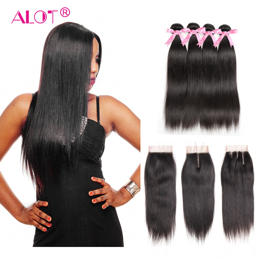 4 Bundles With Lace Closure Peruvian Straight Human Hair Weave Natural Black Non-Remy Hair Extension 5PCS Bundles With Closure