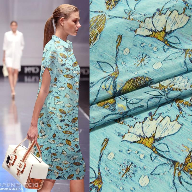 138cm Elegant Print Inkjet Crepe De Chine Silk Fabric 11.5mm Soft T-shirt Shirt Skirt Silk Fabric Wholesale Silk Cloth