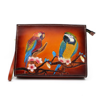 Women Men Vegetable Tanned Leather Bag Money Holder Clutch Purse Hand Carving Plum Blossom Lovers Parrots Clutches Envelope