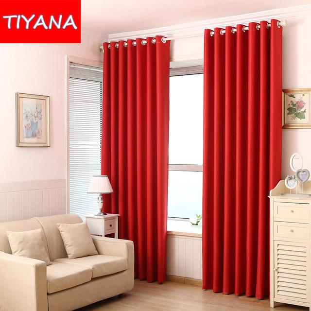 Rouge noir solide fen tre rideaux pour salon chambre moderne simple semi pann - Rideaux design pour salon ...