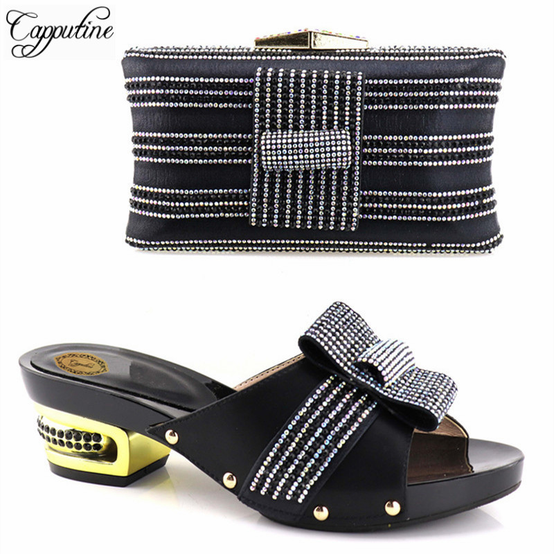 60d9480b41 argent Dhl Vente Et Femme Strass Partie Talons Sac Italien Capputine  Chaussures Noir Africains jaune Gratuite ...