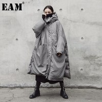 EAM 2018 New Spring Winter Hooded Solid Color Light Gray Thickening Big Size Vent Warm