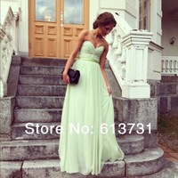 Chic Sage Sweetheart Ruched Floor Length Mint Green Chiffon Sexy Prom Dresses Long Evening Gowns 2014 Fast Shipping BO4614