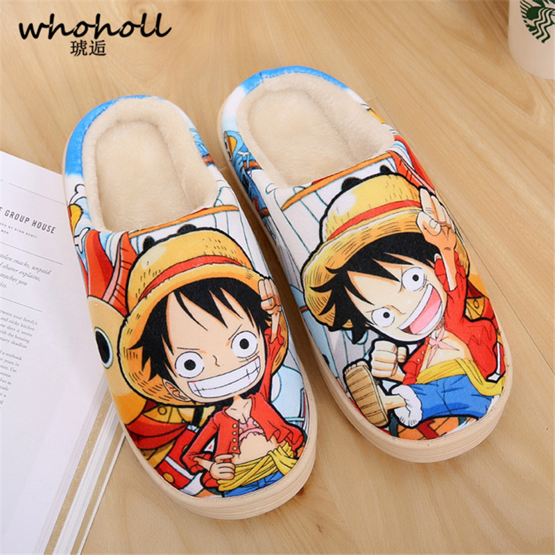 WHOHOLL Home Slippers 2018 Winter Man Cotton Slippers Indoor Anti-skid Platform Lovers Plush Male Cartoon ACG One-Piece Pantufa
