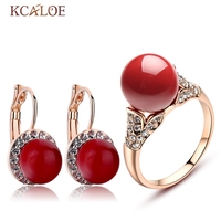 KCALOE Earrings And Ring Set Rose Gold Plate Bride Accessories Red Artificial Coral Crystal Rhinestone Wedding