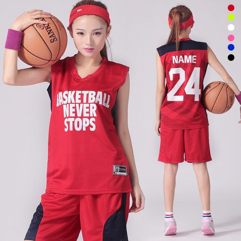 18 renk seti özel özel logo adı numarası kadın basketbol forması ve şort üniformaları kız spor tren takım elbise kuru Fit