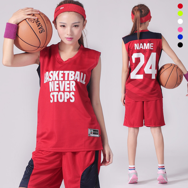 b08fb1d0e2b2 Private Custom LOGO Name Number Women Basketball Jersey   Shorts 2PCS Set  uniforms Girl Sportswear Basketball Train Suit Dry Fit