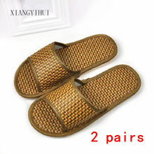 The new Bamboo rattan Home Flat Slipper Indoor Cozy Open Toe Scuffs Slip-on Flat Slipper Men Women Shoes Fashion linen slippers(China)