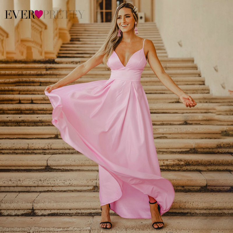Blush Satin Prom Dresses Long Ever Pretty Backless A-Line V-Neck Sleeveless Spaghetti Strap Sexy Female Evening Party Gowns 2019