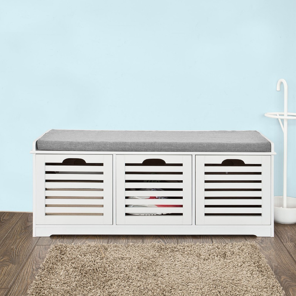 SoBuy White Shoe Storage Bench with 3 Drawers and Removable Seat Cushion Shoe Cabinet FSR23-W
