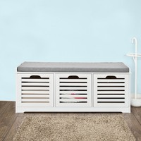 SoBuy FSR23 W,White Storage Bench with 3 Drawers & Removable Seat Cushion, Shoe Cabinet Shoe Bench