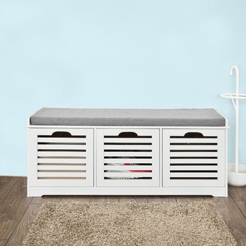 SoBuy White Shoe Storage Bench with 3 Drawers and Removable Seat Cushion Shoe Cabinet FSR23-W practical wooden shoe cabinet closet storage rack pu seat bench entryway hallway black