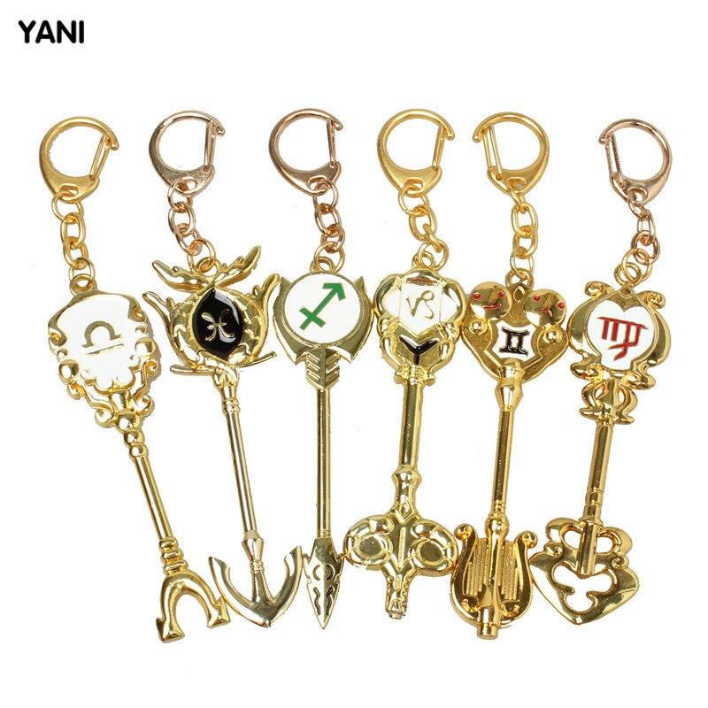 ФОТО 12 PCs Constellation Fairy Tail Lucy Celestial Zodiac Spirit Gate Keys Keychain  action fairy tail figure Free Shipping