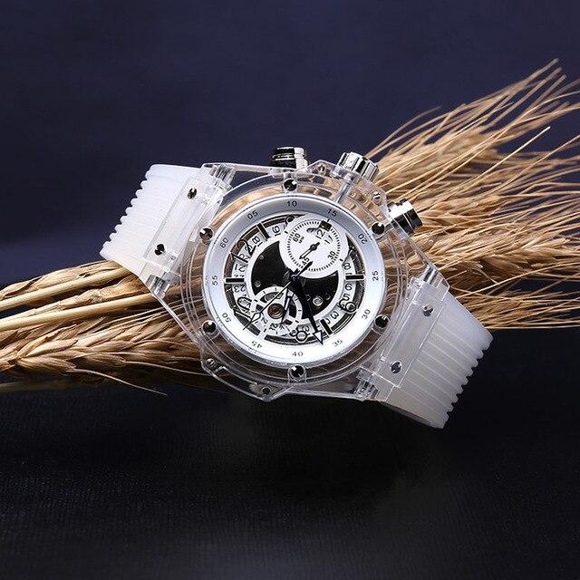 Moda branco homens de pulso mecânico Automático mens relógio Grande homem de marcação relógios de luxo da marca à prova d' água Transparente