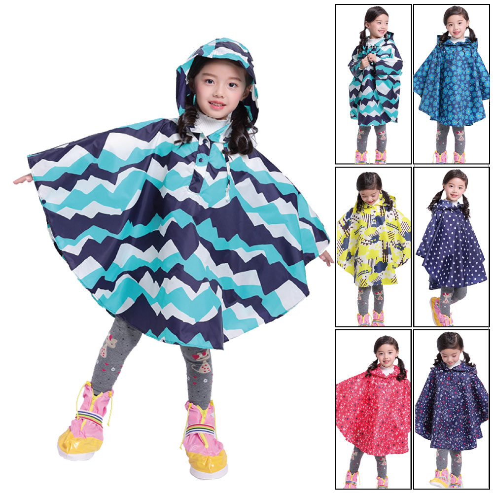 Rain-Coats Poncho-In-Pocket Polyester Waterproof Kids Reusable Fashion Children for Various-Colors