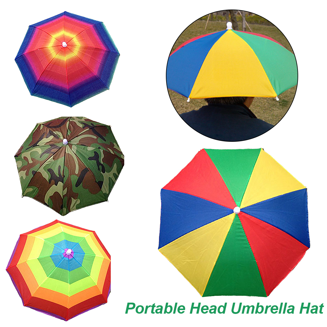 de6f8f603b2 Anti-Sun Anti-Rain Foldable Gear Fishing Hat Head wear Umbrella for Fishing  Hiking Beach Cap Head Hats Outdoor Camping Equipment