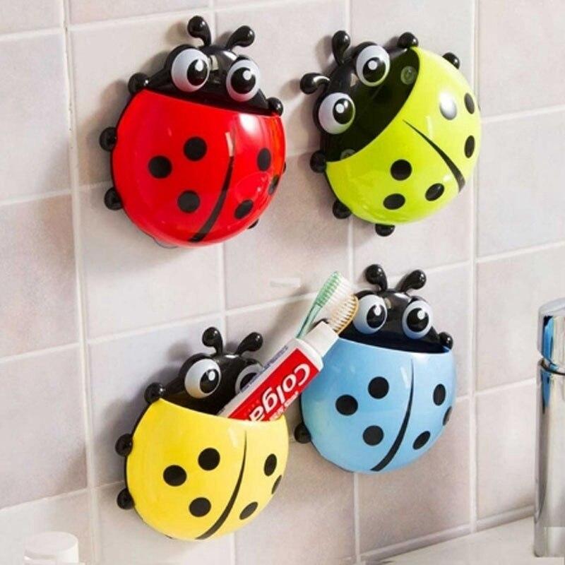 1Pcs Creative Toothbrush Ladybug Sucker Wall Mount Holder Cute Cartoon Children Toothbrush Holder Hook Bathroom Accessories
