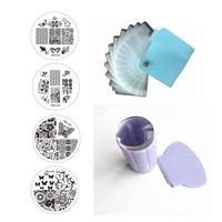 10 штамповки пластины + 24 слотов кожа Дизайн ногтей шаблон Чехол-Папка + прозрачный желе силиконовый прозрачный штампа Скребки Маникюр Инстр...
