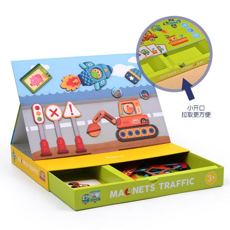 En bois Enfants Jouets Éducatifs Aimant Dressing Magnétique Puzzles Jeu Ensemble Amusant Réutilisable Autocollants pour Enfants Cadeau De Noël