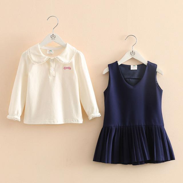Crianças em idade escolar vento set 2017 nova primavera meninas T-shirt desgaste colete saia de duas peças tz-3002