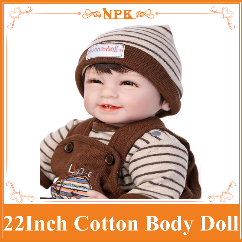 NPK Brand 22Inch About 55cm Silicone Reborn Baby Dolls Made Of High Quality Cotton Simulation Lifelike Doll Toys Gift For Kids free shipping hot sale real silicon baby dolls 55cm 22inch npk brand lifelike lovely reborn dolls babies toys for children gift