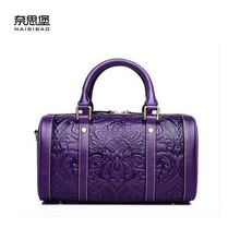 2016 New women genuine leather bag fashion chinese style quality women leather handbags shoulder bag embossing boston bag