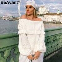 BeAvant Elegant pearl knitted sweaters female Rufle off shoulder loose casual pullover Women lantern sleeve winter jumper 2018