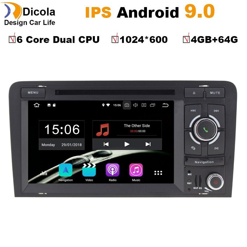 IPS 4 + 64G 6 Núcleo Android 9.0 GPS CARRO DVD Para Audi A3 8 P 2003-2012 s3 2006-2012 RS3 Sportback 2011 multimedia player estéreo rádio