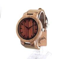 BOBO BIRD C16 Womens Leather Strap Zebra Wooden Watches Ladies Brand Deginer Top Quartz Wood Watch