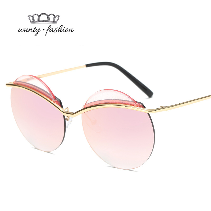Rimless Hipster Glasses : Wnnty 2017 Fashion Rimless Round Sunglasses for Women Clip ...