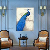 Best handmade Canvas oil Painting Peacock Wall Picture home Decoration Peacock on display knife Oil Painting for Home Wall Room